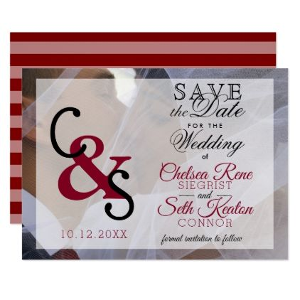 Save The Date Modern Day Love Maroon Card Weddings