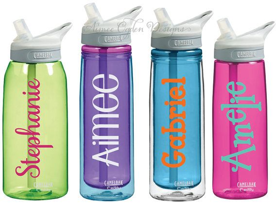 Label your sports water bottle with these waterproof camelbak personalized name decals labels this listing is for 4 decals all 4 decals