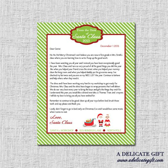 Personalized Letter From Santa Printable  BabyToddler