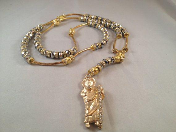 San Judas Tadeo Rosario Sinaloense Oro Plata By Rosariesandacc 27 99 Gold Silver Rosary Necklace