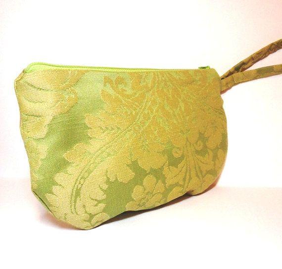 Green Wristlet Zipper Pouch Pale Apple Green by handjstarcreations