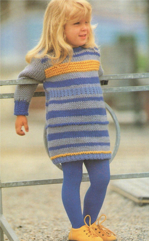 54a5bbb75 Girls Sweater Dress PDF Knitting Pattern   Childrens 22 - 23