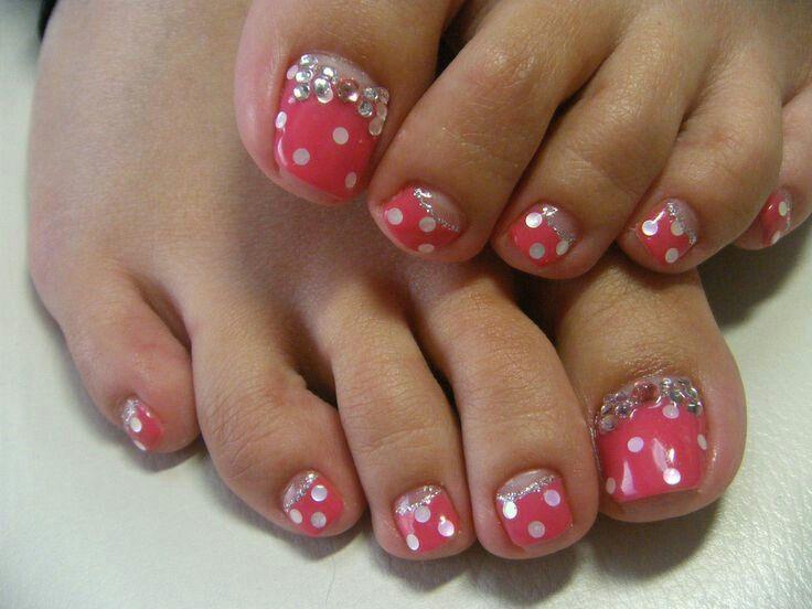 Pink and white polka dot bow nailart polka dot nails pinterest pink and white polka dot bow nailart toe nail artgel prinsesfo Image collections