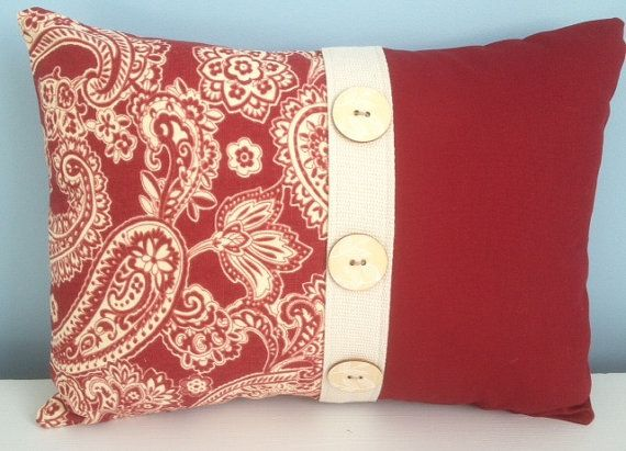 French country pillow cover. Red and