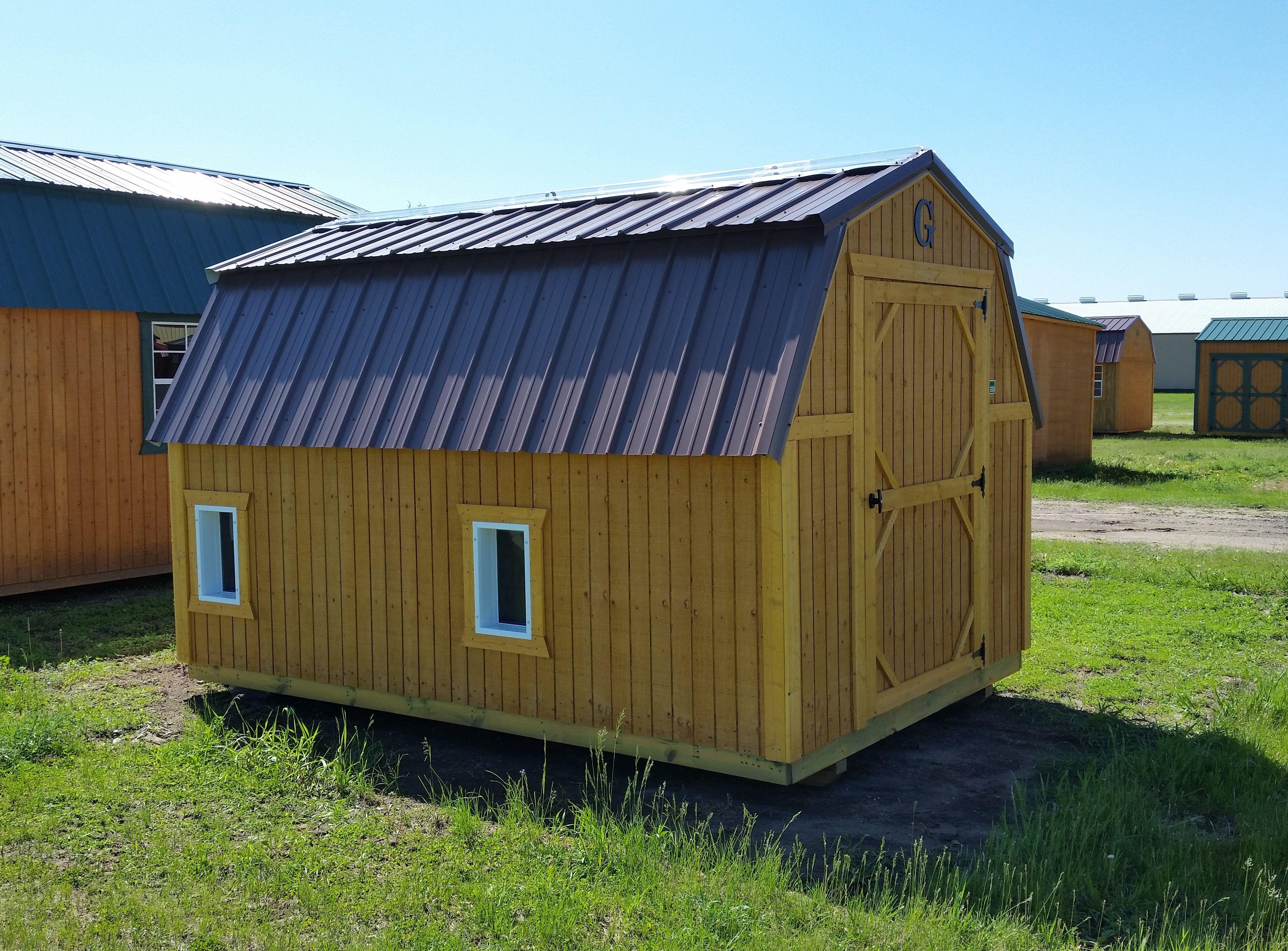 Best 8X12 Barn With Dog Doors Cocoa Brown Metal Roof 400 x 300