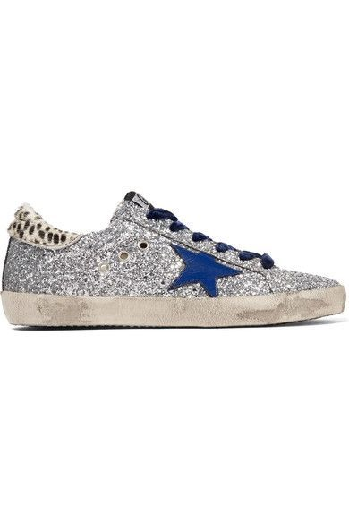 4d6f035641da Golden Goose Deluxe Brand - Super Star Glittered Leather And Calf Hair  Sneakers - Silver