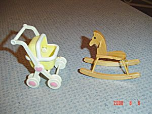Plastic Stroller and Wood Rocking Horse Doll House Mini