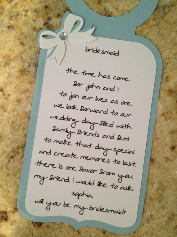 BRIDESMAID or MOH  Four 4 Personalized Poem Wine by MeticulousArt