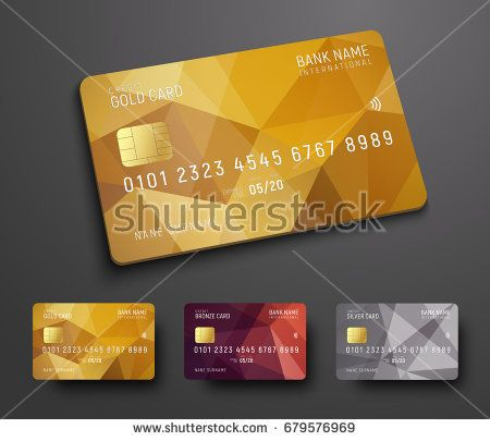 Design Of A Credit Debit Bank Card With A Gold Bronze And Silver Polygonal Abstract Background Template For Presentation Vector Illustration Stock Illus