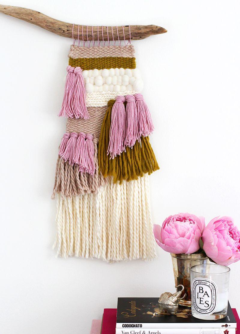 DIY Woven Wall Hanging | Telar, Lana y Tapices