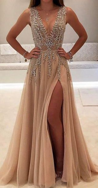 45937daefb1 2019 Charming Custom V neck Sleeveless Side Sleeves Most Popular Affordable High  Quality Prom Dresses