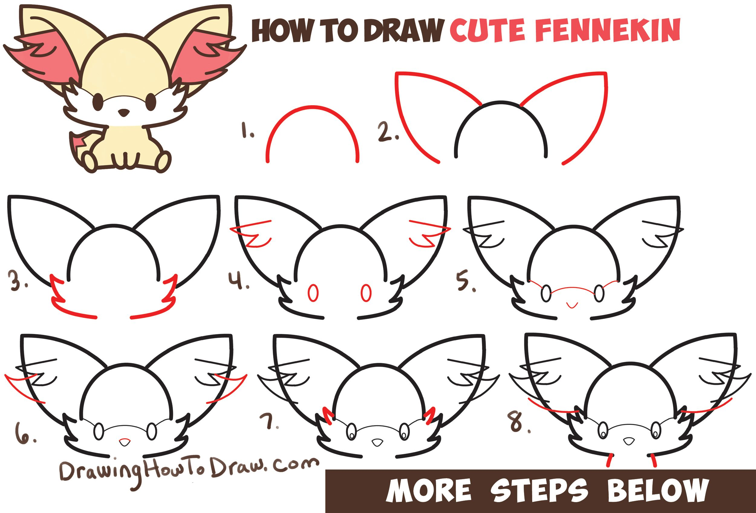 Learn How to Draw Fennekin (Cute Kawaii/Chibi) from