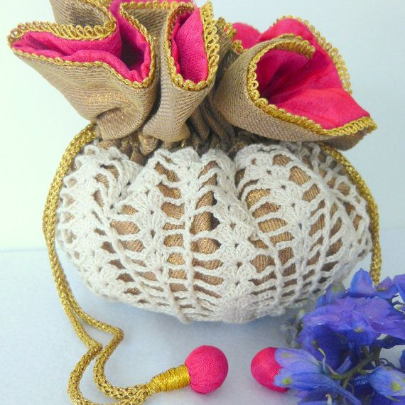 Crochet bag, White Drawstring Bag, Drawstring bag white, Handbag ...
