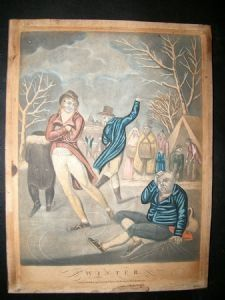 P. Stampa (Pub) 1800 Folio Hand Col Mezzotint Droll. Winter