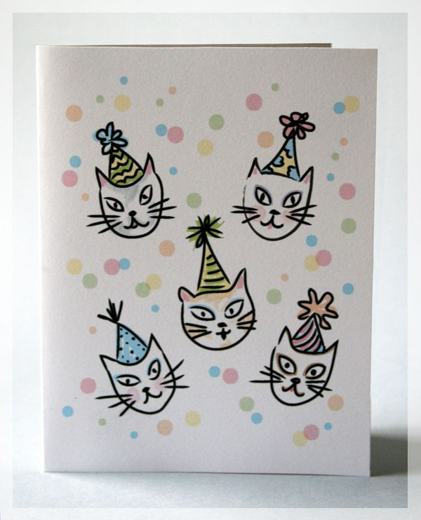 Tactueux image with free printable cat birthday cards
