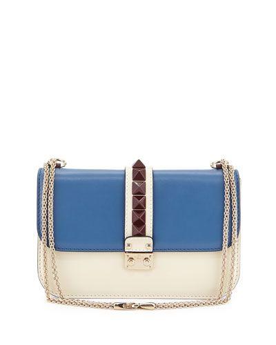 8fc306dc64 V2EHX Valentino Rockstud Medium Colorblock Flap Shoulder Bag, Ivory Multi
