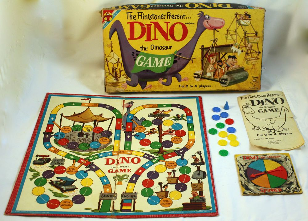 1961 Dino The Dinosaur Board Game Flintstones Transogram Co Hanna Barbera Board Games Vintage Board Games Vintage Games