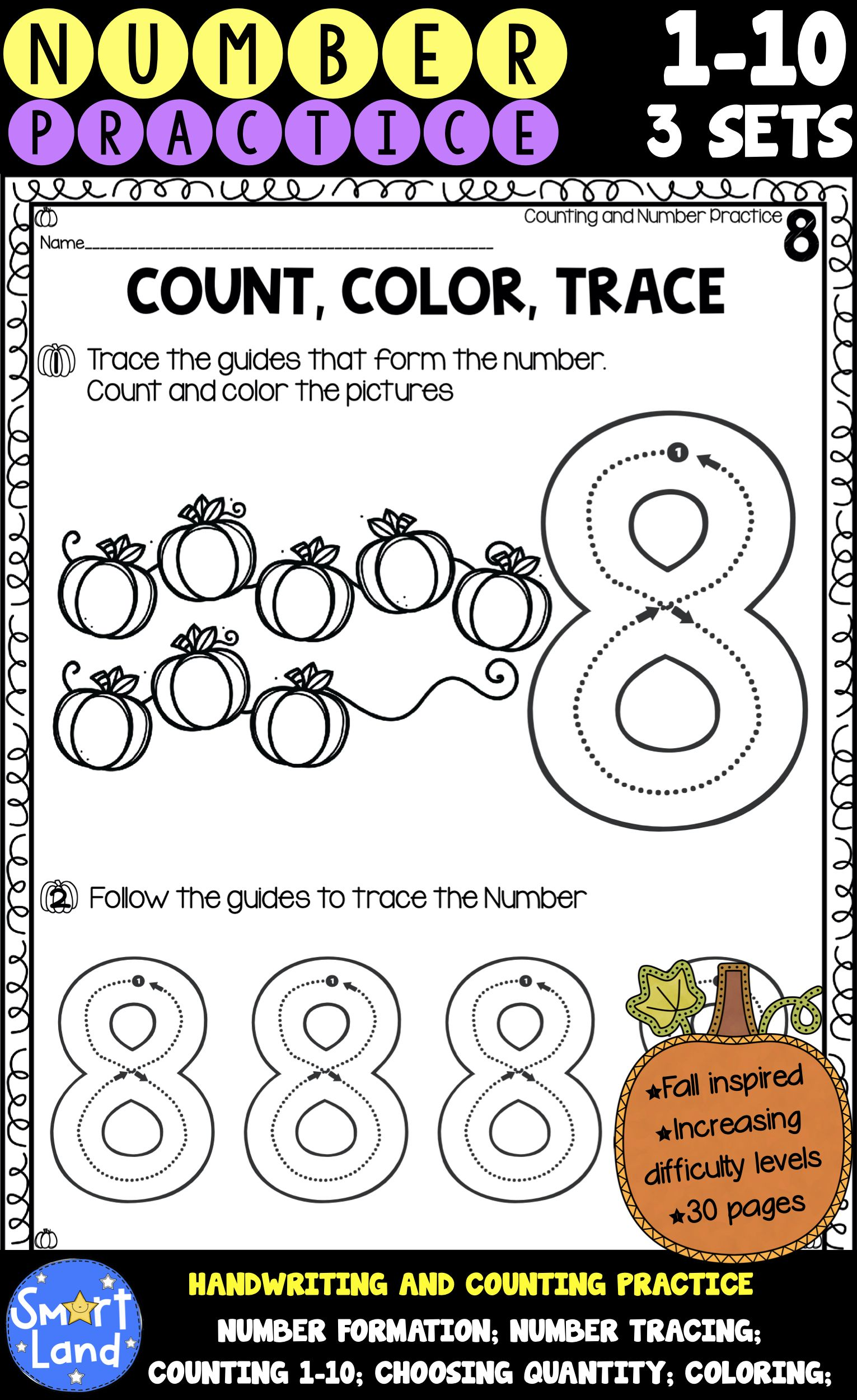 Number Handwriting And Counting Practice 3sets