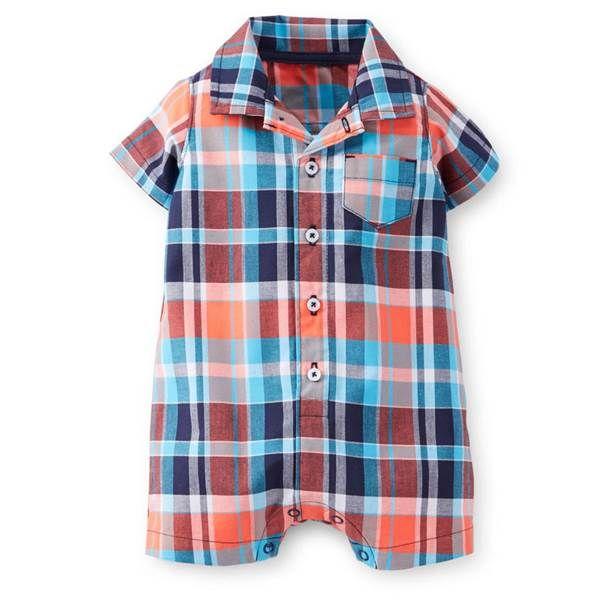 plaid housewares | carter's Infant Boy's Blue White & Orange Plaid Romper (Size: 24M) at ...