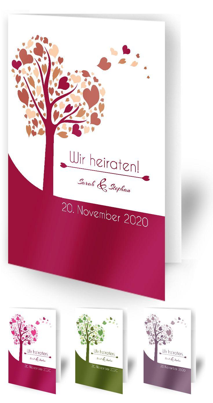 Esg Liebevoll Gestaltete Hochzeitseinladung Herzbaum Erhaltlich