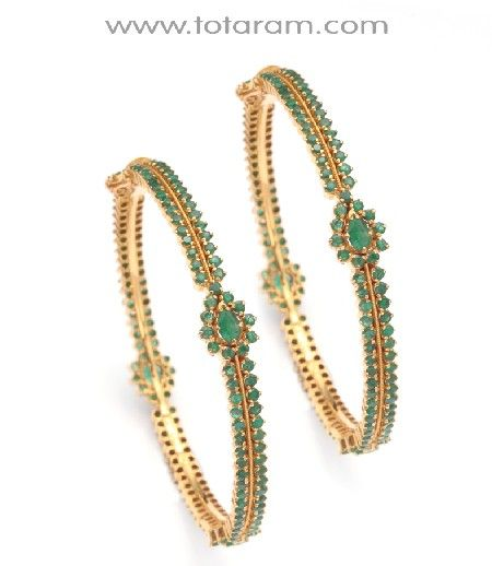 Check out the deal on 22K Gold bangles with Emeralds - 1 Pair at Totaram Jewelers: Buy Indian Gold jewelry & 18K Diamond jewelry
