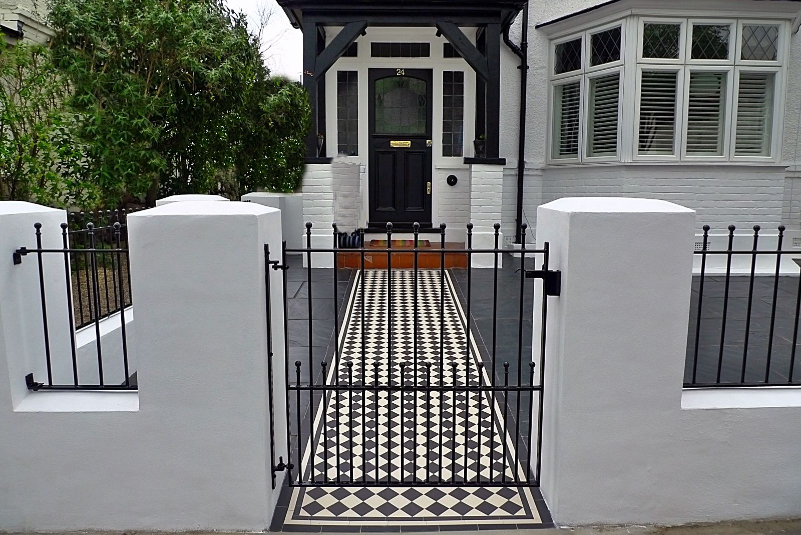 Great Front Garden Render Block Wall And Gate With Victroain Mosaic Tile Path  Richmond Wandsworth Sheen London