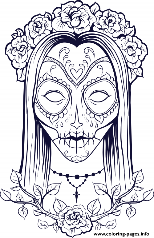 Print sugar skull woman flowers old coloring pages SUGAR