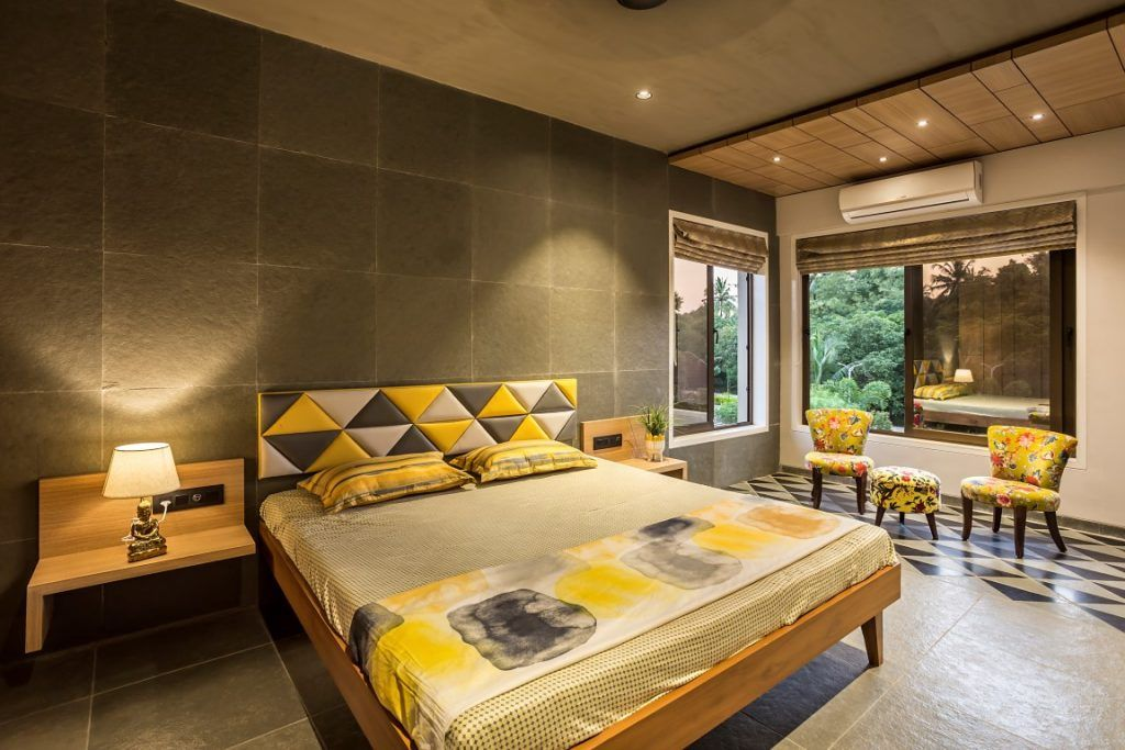 Country House Bringing Nature Into The Built Form House Bed Design Kota Stone Flooring