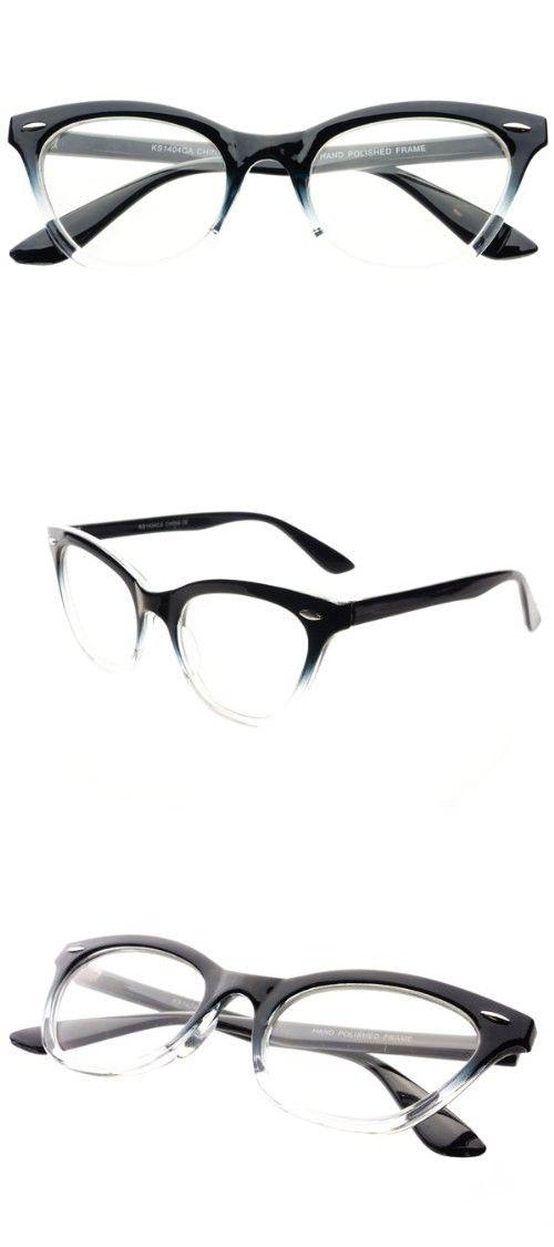 1c41ffbf0a New Womens Half Tinted Modern Retro Clear Lens Cat Eye Glasses Frames (Black )