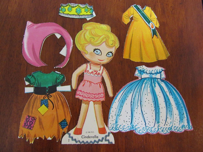 PEEPFUL PALS Cinderella, Cinderiddle, and Brenda Bride Vintage Paper Dolls. $10.99, via Etsy.