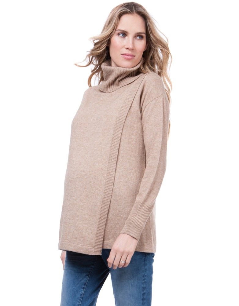 Camel Draped Maternity   Nursing Sweater  c6212d475
