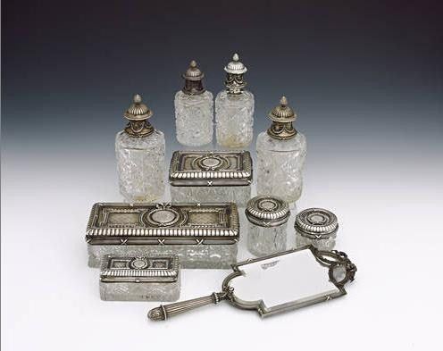 Faberge Silver Mounted, Cut Crystal Dressing Table Set, 19th century ...