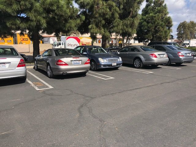 Parking lot full of MercedesBenz at South Bay Autohaus