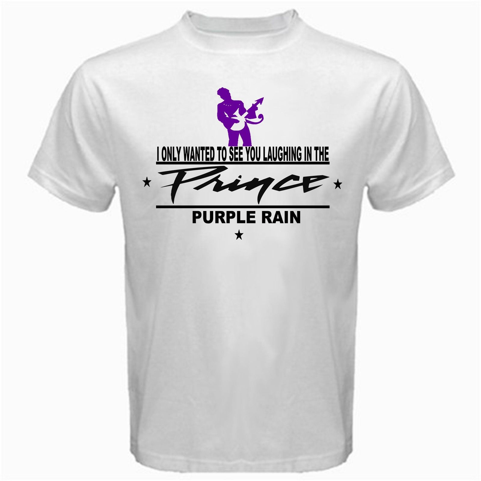 b3a194a70cdd Prince Purple Rain Legend Eighties Sexy T Shirt White Basic Tee Casual Plus  Size T-