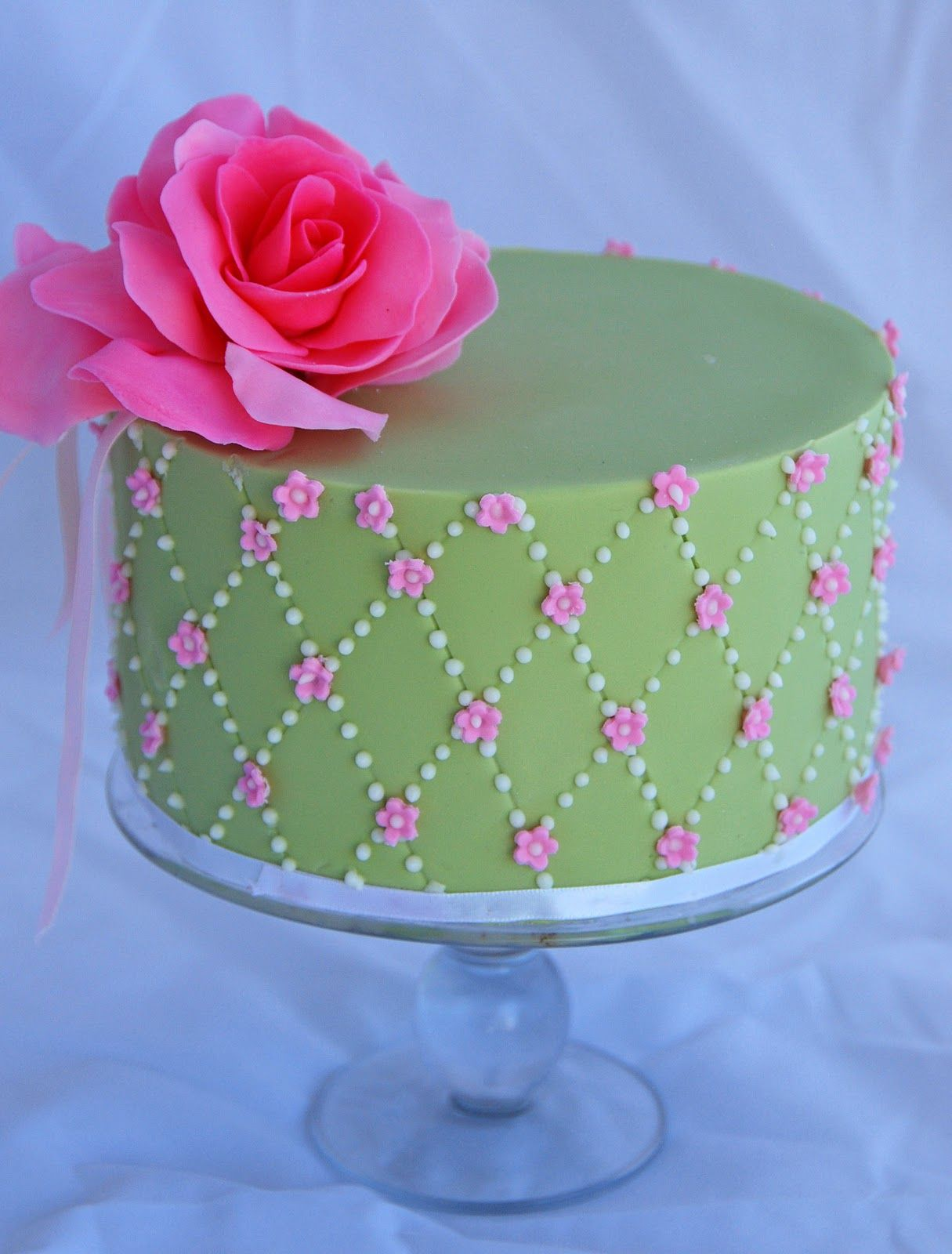 Peachy Pink And Green Pink And Green Birthday Cake With Images Personalised Birthday Cards Veneteletsinfo