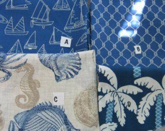 Coastal Home Decor Fabric Blue Nautical Pillow Covers Outdoor