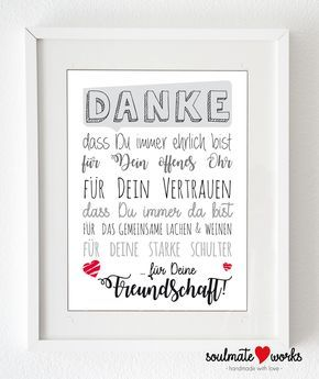 Kunstdruck für Deine beste Freundin Danke für Deine Freundschaft - Geschenk für die beste 'Freundin oder Freund. Druck oder Leinwand