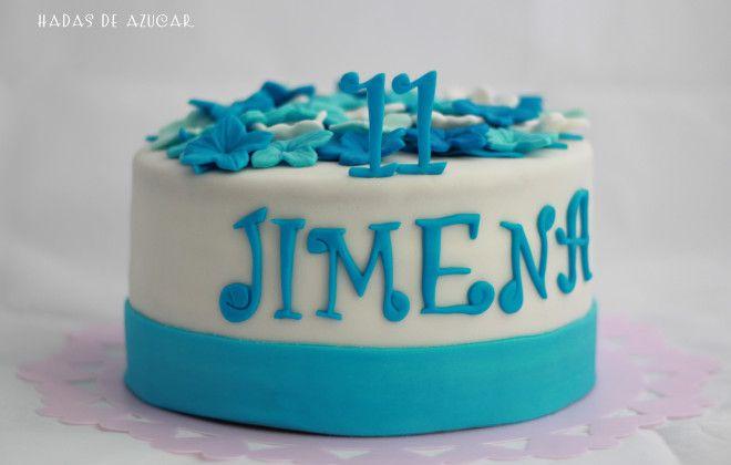 Tarta de flores azules / Blue flowers fondant cake