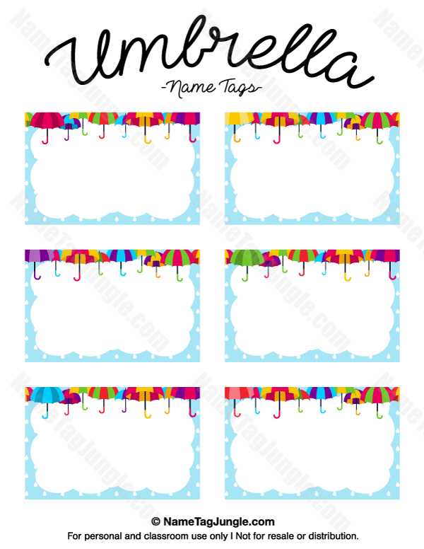 Free Printable Umbrella Name Tags The Template Can Also Be Used