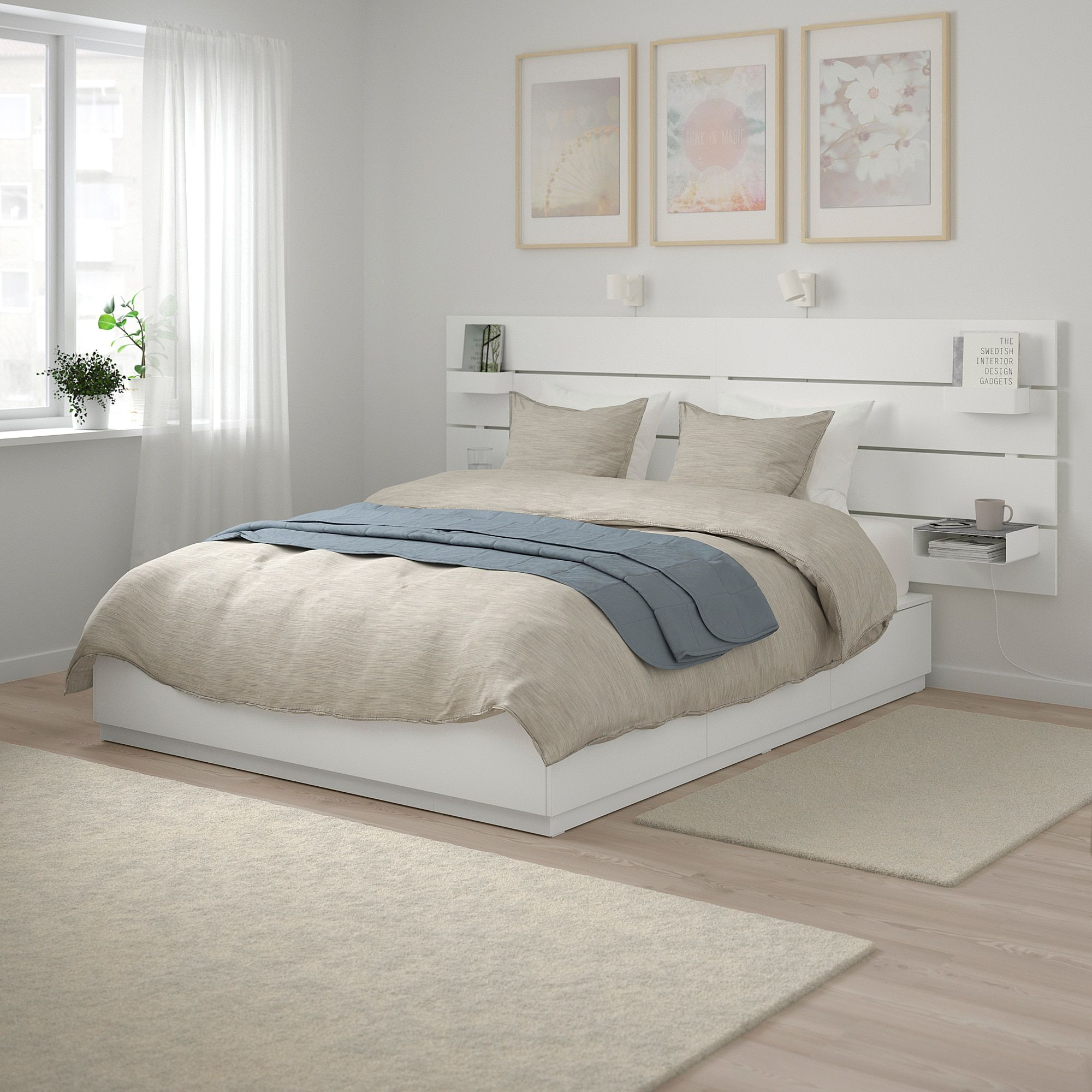 Nordli Bed With Headboard And Storage White Ikea Headboards For Beds Bed Frame With Storage White Bed Frame