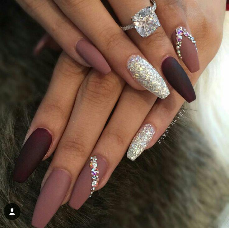 Ballerina Nails. Matte nails. Nails with rhinestones. Acrylic nails ...