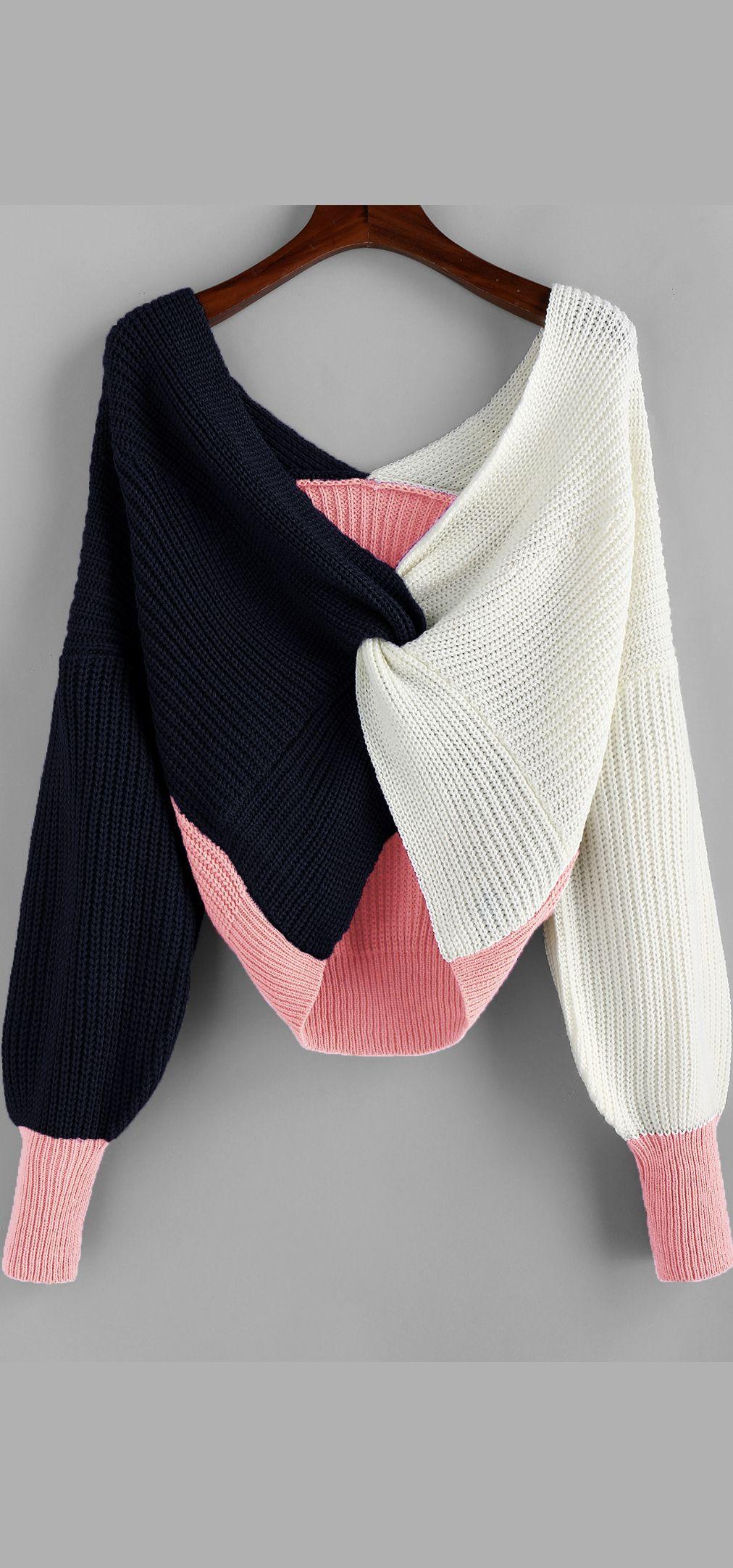 Photo of 2019 Plunge Colorblock Twist Sweater