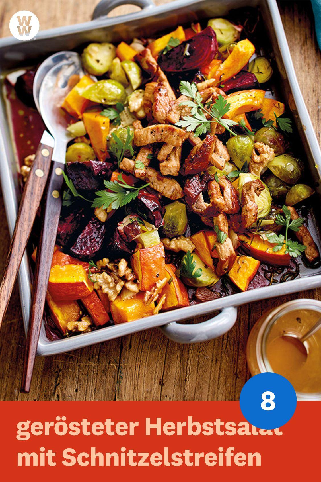 gerösteter Herbstsalat mit Schnitzelstreifen