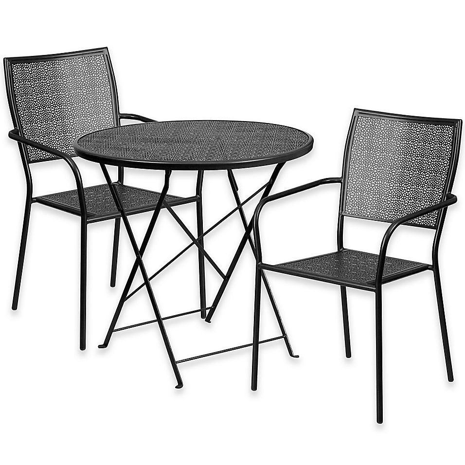 Flash Furniture 3 Piece Outdoor Patio Furniture Set With Square
