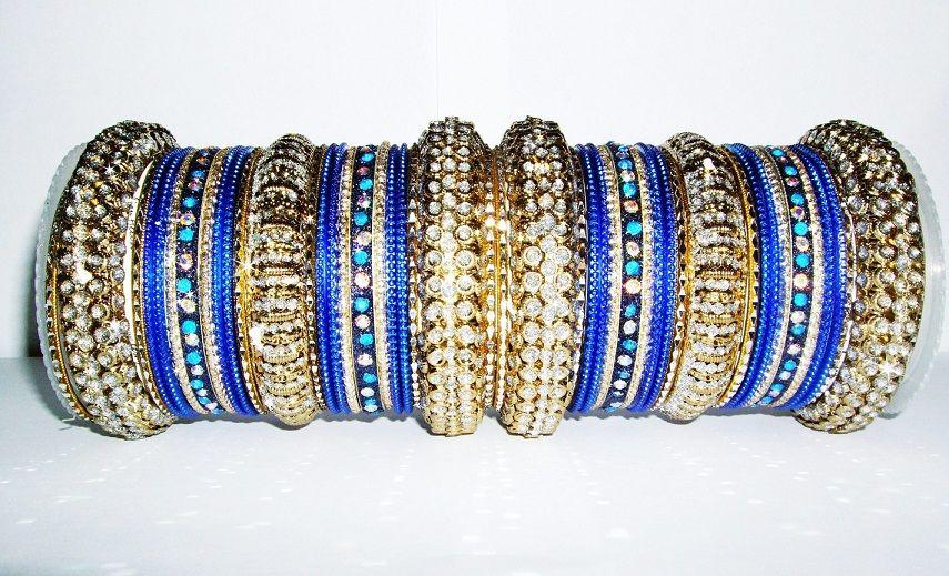 Indian Fashion Designer Chudi Set New Blue Bangles Set Women Collection Modern And Elegant In Fashion Engagement & Wedding