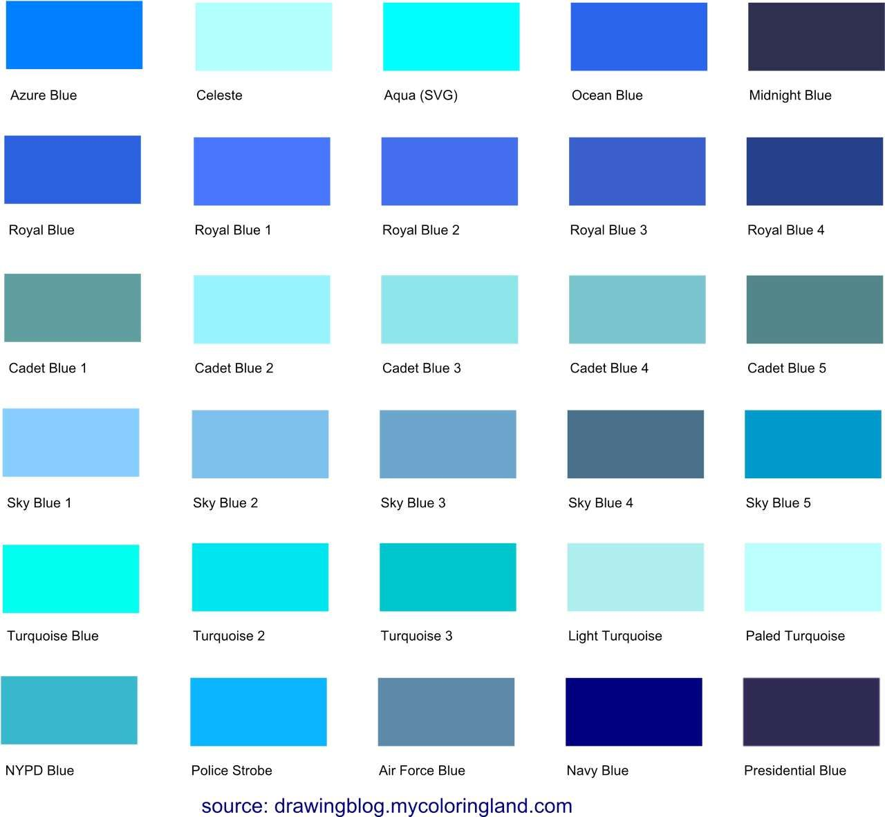 this is the largest list of different blue shades hues and tints on