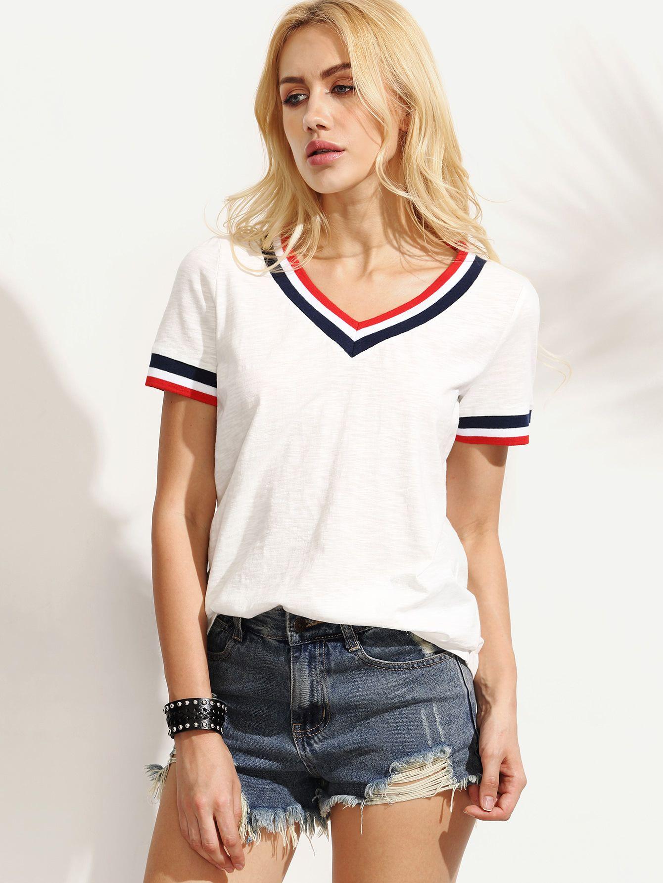 5f9cf2fceed Camiseta rayas escote V manga corta - blanco-Spanish SheIn(Sheinside ...