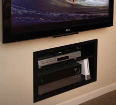 Attrayant Built In Cabinet For A/V Components Hides Equipment And Wires, Saves Floor  Space.