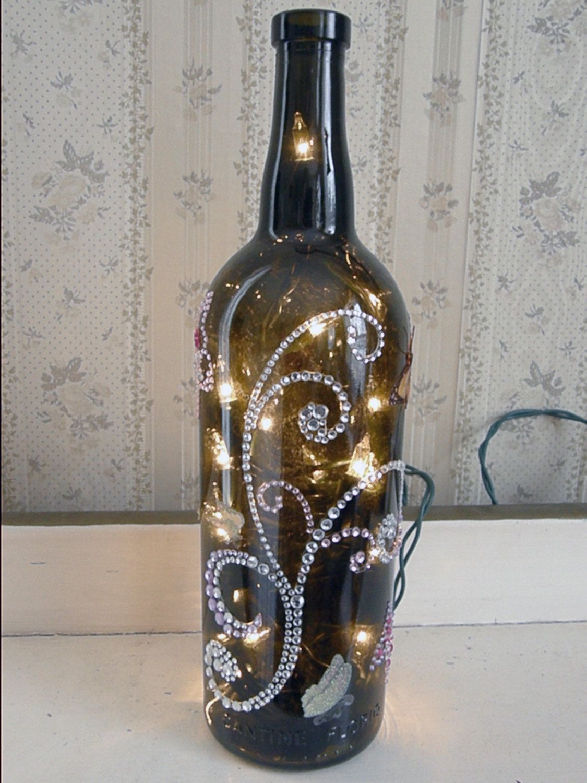 Rhinestone and glitter butterflies lighted wine bottle for Wine bottle night light diy