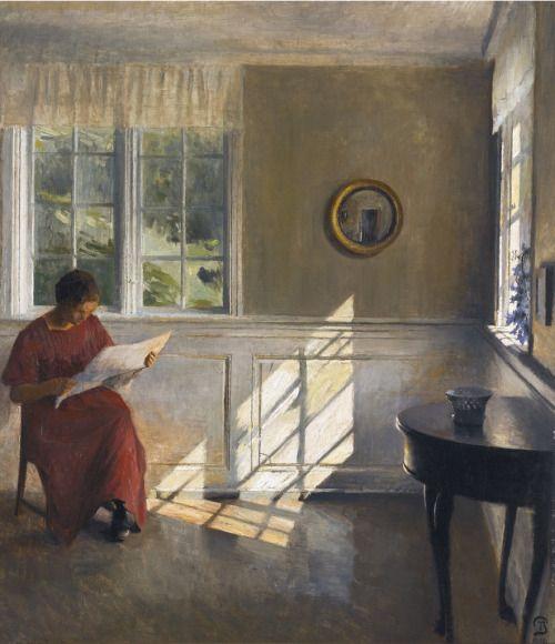 Peder Ilsted - A Sunlit Interior (1909)